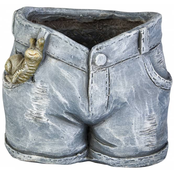 Pflanzgefäß - Jeans - aus Magnesia - 26 x 22 x 22 cm
