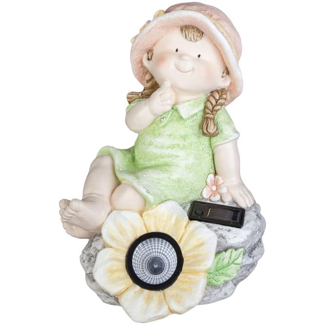 Dekokind - Mädchen mit LED-Blume - aus Magnesia - 26,5 x 25 x 37,5 cm