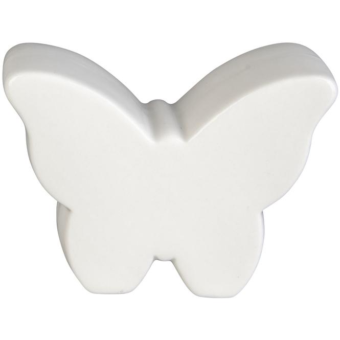 Schmetterling - aus Keramik - 10 x 3,5 x 7,5 cm - weiß