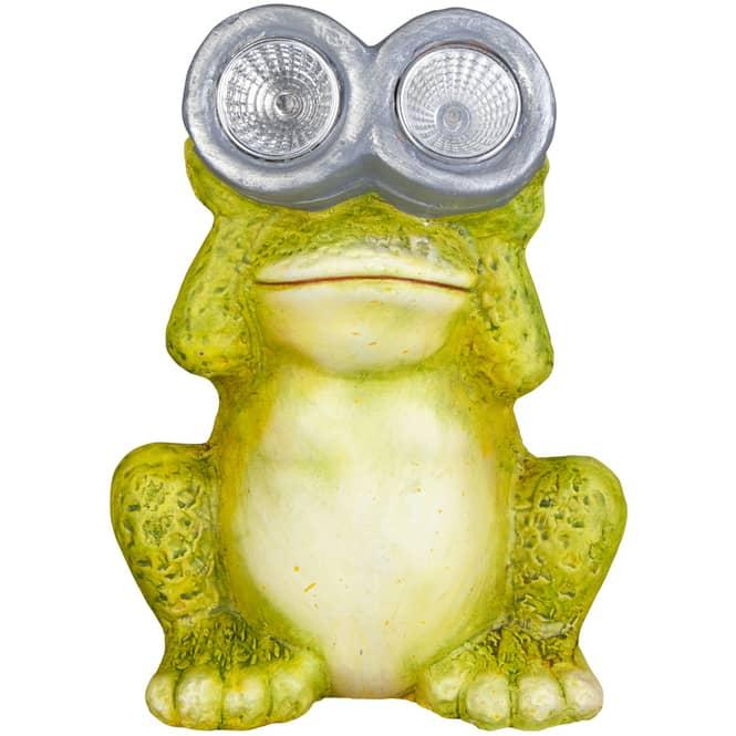 LED-Frosch - aus Terrakotta - 15 x 10 x 21,5 cm