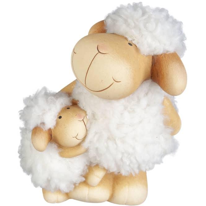 Schafe - aus Terrakotta - 14 x 11 x 18,5 cm