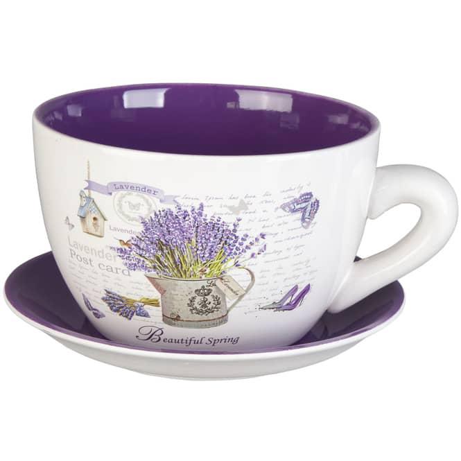 Pflanzgefäß - Tasse mit Lavendel - aus Keramik - verschiedene Größen