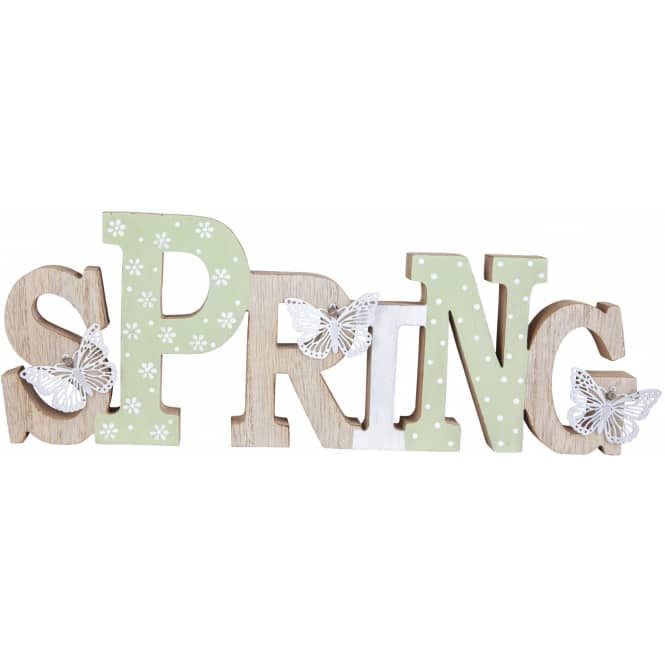 Deko-Schriftzug - Spring - aus Holz - 24 x 2 x 12,5 cm