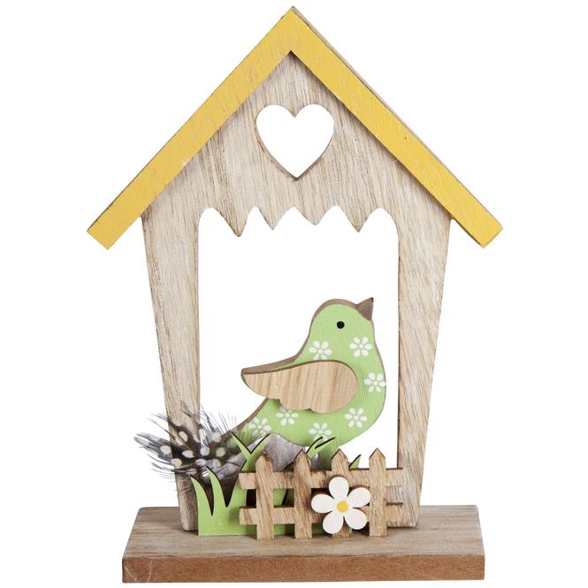 Standdeko - Vogelhaus - aus Holz - 13,5 x 5 x 18,5 cm