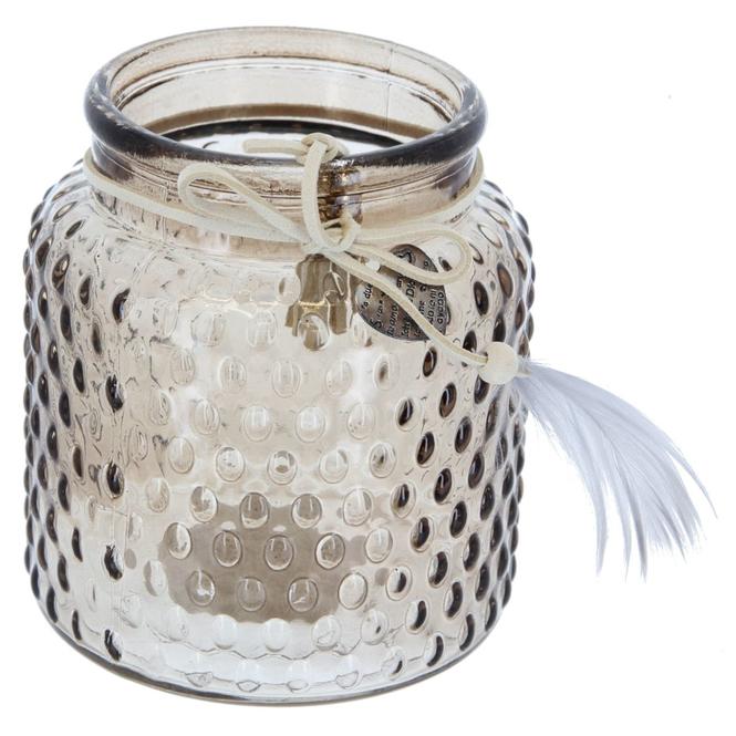 Windlichtglas  - ca. 10 x 11 cm - braun