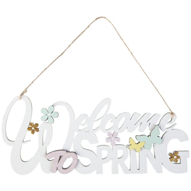 Dekohänger - Welcome to Spring - aus Holz - 10 x 22,5 cm