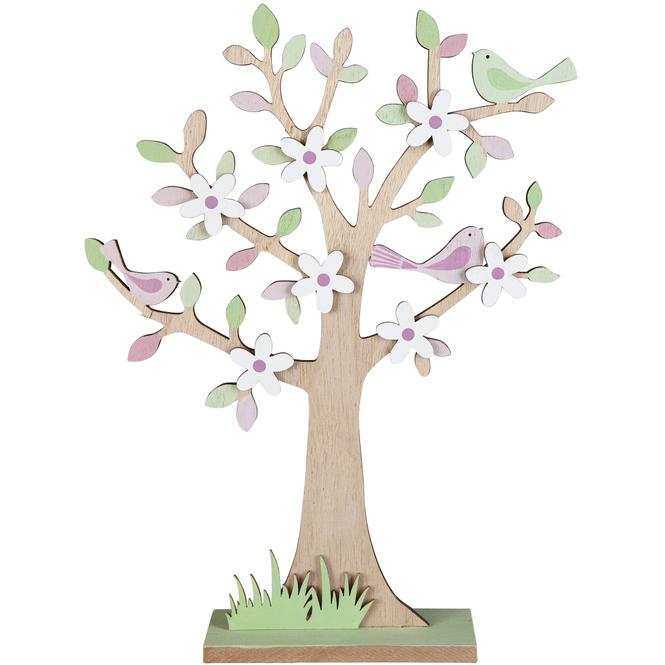Standdeko - Baum - aus Holz - ca. 23 x 5 x 30,5 cm