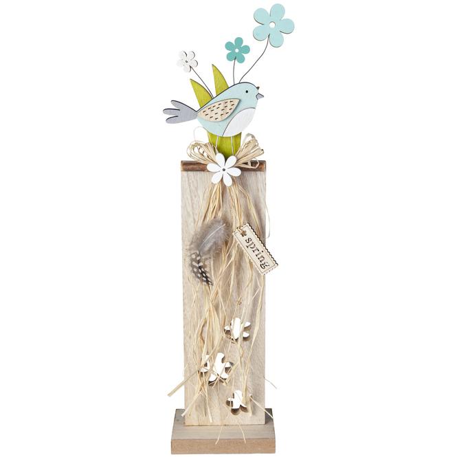 Standdeko - Vogel - aus Holz - 10 x 7 x 42 cm