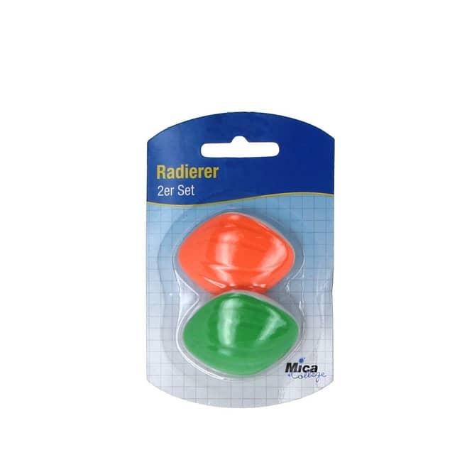 Mica College - 2 Radierer - in orange und grün