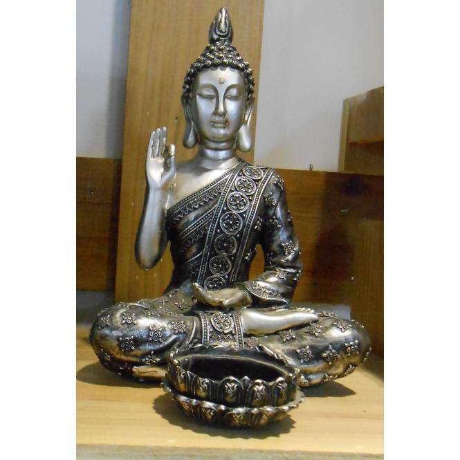 Teelichthalter - Buddha - aus Polyresin - 14,5 x 14 x 20,5 cm