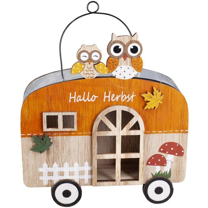 Dekohänger - Wohnwagen - aus Holz - 18 x 5 x 19,5 cm