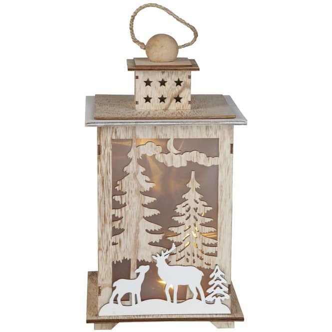 LED-Laterne - aus Holz - ca. 16,5 x 16,5 x 30 cm