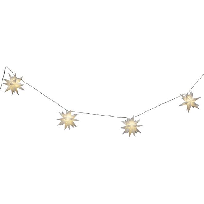 10er LED-Lichterkette - Sterne - 12 x 500 cm - weiß