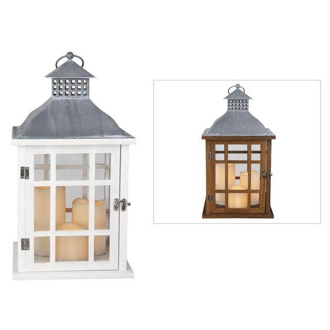 LED-Laterne - aus Holz - ca. 24 x 24 x 42 cm - 1 Stück