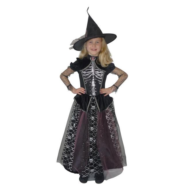 Kostüm - Skeletthexe - für Kinder - 2-teilig - Größe 146/152