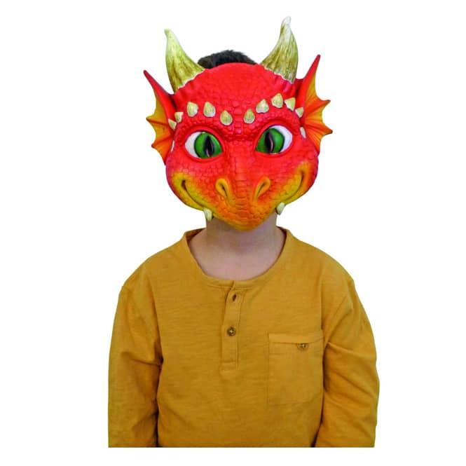 Halloweenmaske - Drache - für Kinder - rot