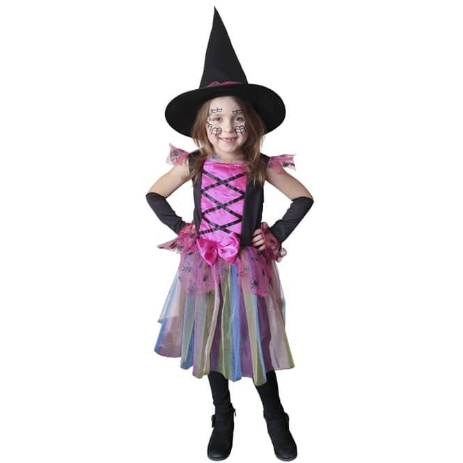 Kostüm - Regenbogenhexe - für Kinder - 3-teilig - Größe 110/116