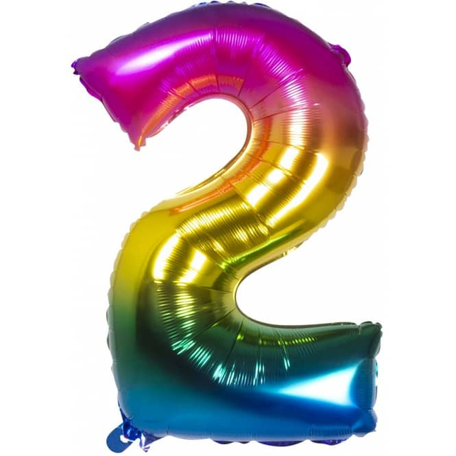 Folienballon - Bunte Zahl - 2 - zwei