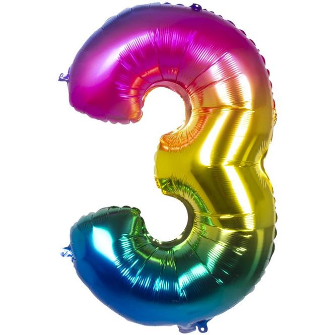 Folienballon - Bunte Zahl - 3 - drei