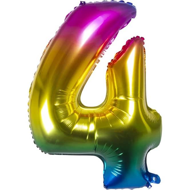 Folienballon - Bunte Zahl - 4 - vier