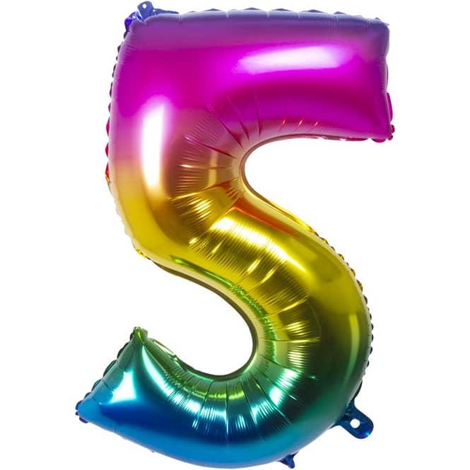 Folienballon - Bunte Zahl - 5 - fünf