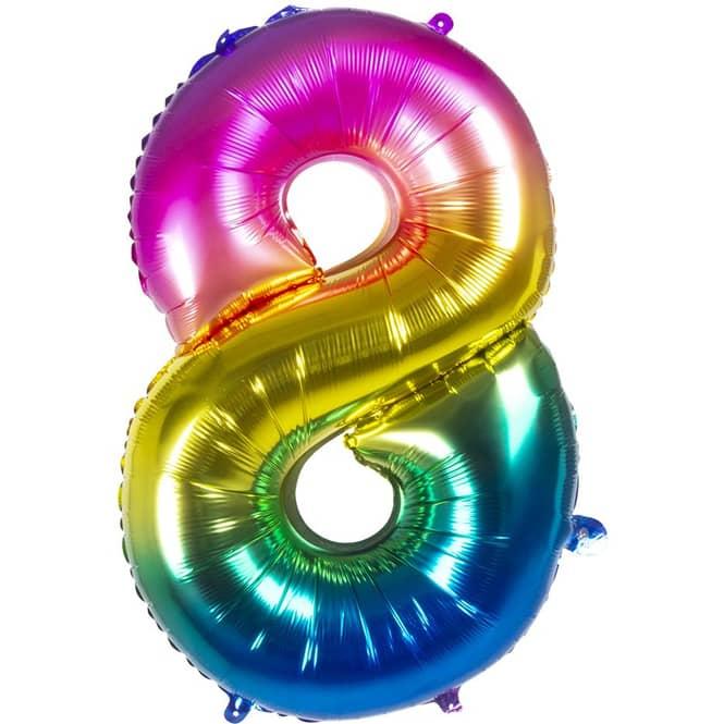 Folienballon - Bunte Zahl - 8 - acht