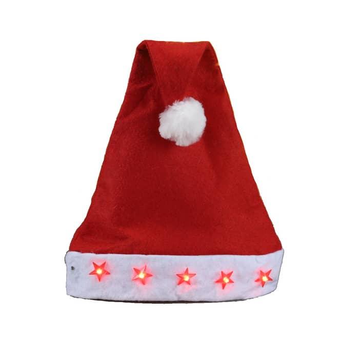 Nikolausmütze - mit Blinkfunktion - ca. 30 x 45 cm