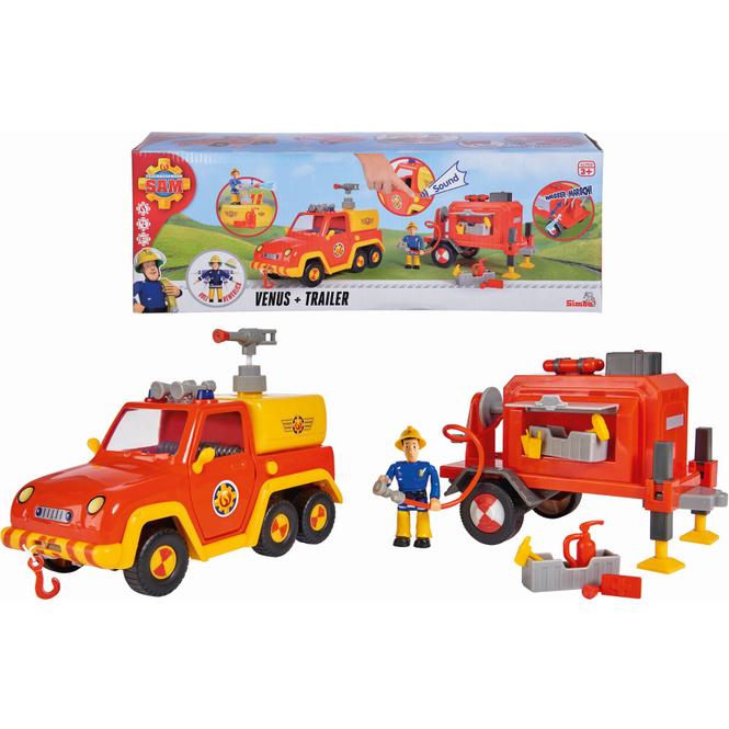 Feuerwehrmann Sam - Feuerwehrauto Venus mit Trailer und Figur