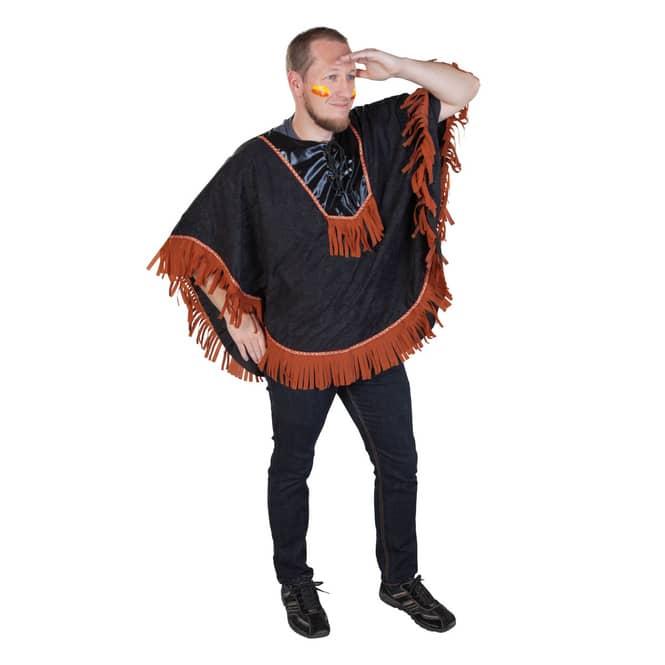 Kostüm - Indianerponcho - für Erwachsene - Einheitsgröße