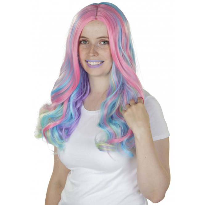 Langhaarperücke für Erwachsene - Pastell-Regenbogen