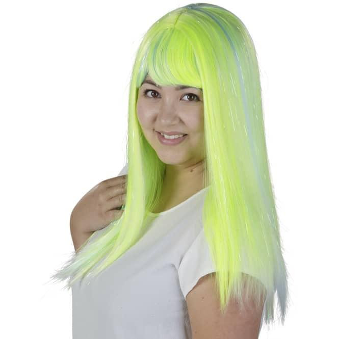 Langhaarperücke für Erwachsene - Neongrün