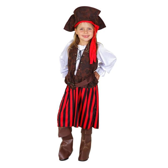 Kostüm - Kleine Seeräuberin - für Kinder - 4-teilig - Größe 122/128