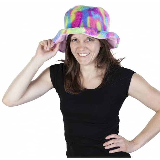 Faschingshut - Regenbogen-Plüsch - für Erwachsene