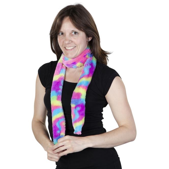 Faschingsschal - Regenbogen-Plüsch - für Erwachsene
