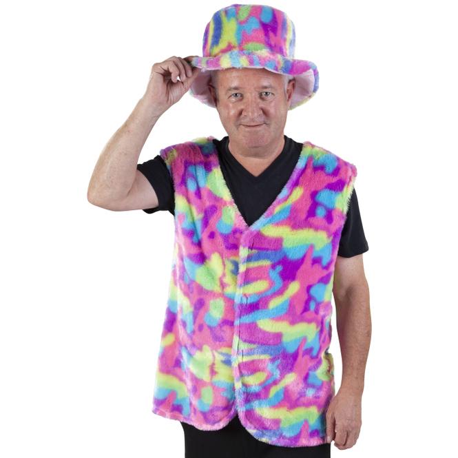 Weste - Regenbogen-Plüsch - für Herren