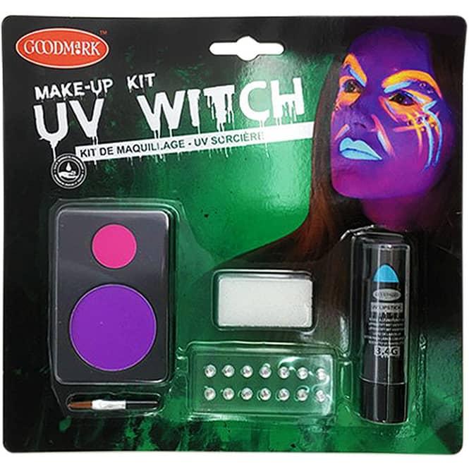 Schminkset - UV-Hexe - Make-up mit Zubehör