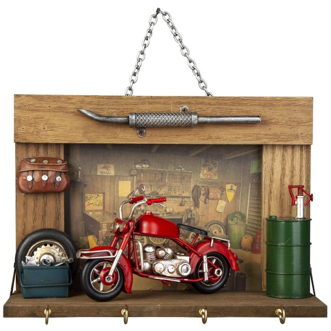 Schlüsselbrett - Retro-Look - Motorradwerkstatt - 25 x 10 x 17,5 cm