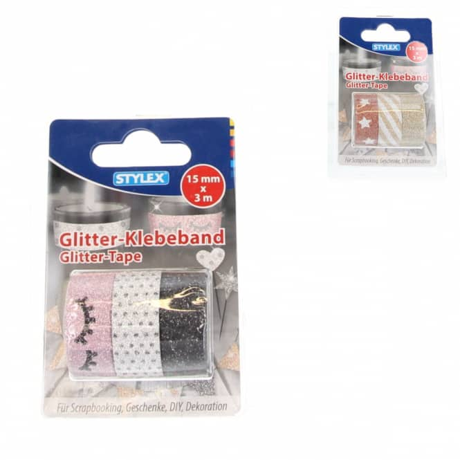 Deko-Klebeband - Washi-Tape - Glitter - 3 Rollen à 3m