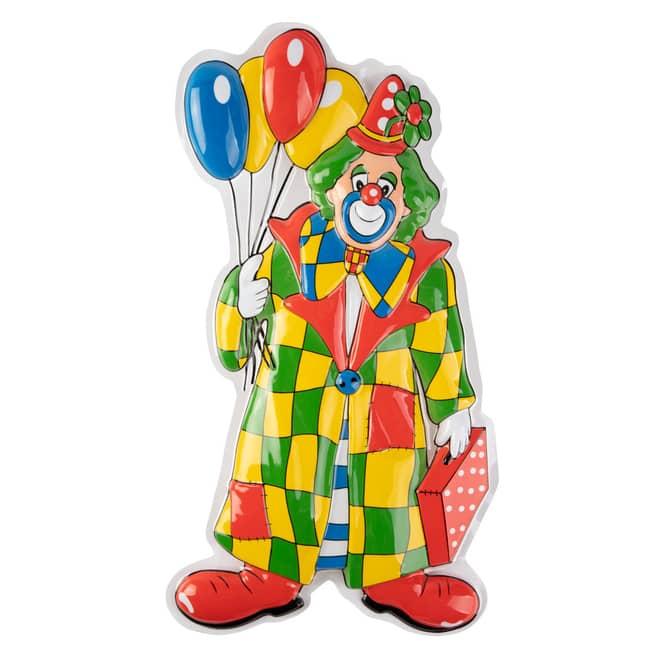 Wanddeko - Clown mit Luftballons - ca. 60 x 37 x 2 cm