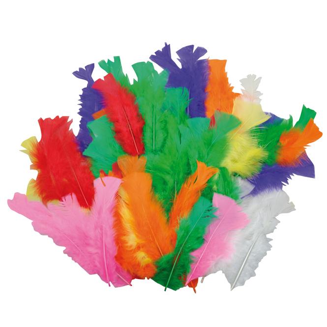 Bastelfedern - 60 Stück - verschiedene Farben