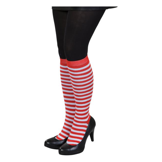 Kniestrümpfe - Streifen - für Erwachsene - rot/weiß