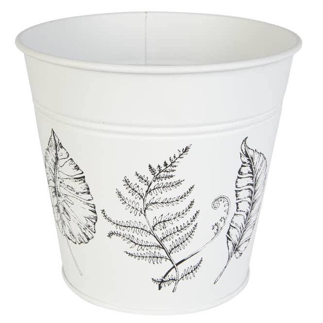 Pflanztopf - Blätter - ca. 14 x 10 x 12 cm - weiß