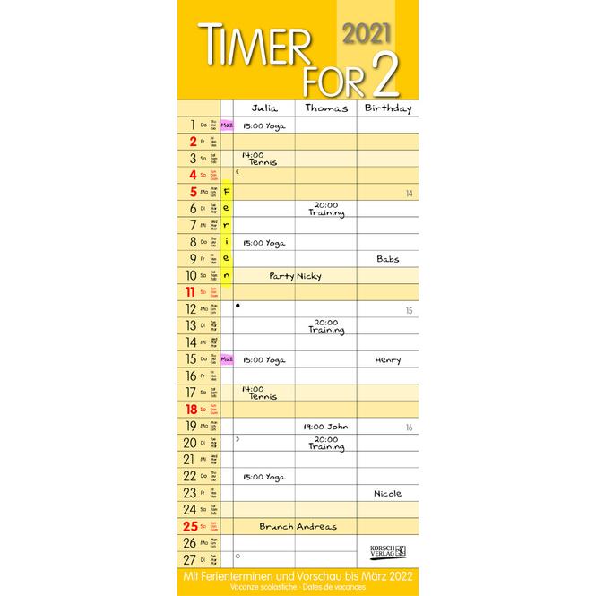 Kalender - Timer für Zwei 2021