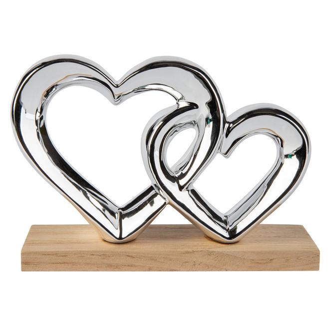 Standdeko - Herzen - aus Keramik - ca. 20,5 x 6 x 14 cm