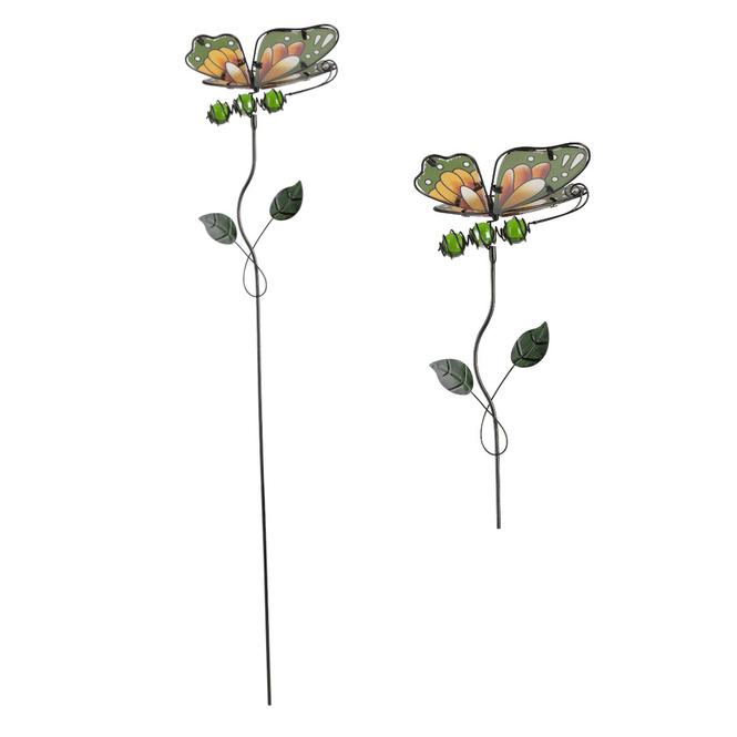 Pflanzenstecker - Schmetterling - ca. 14 x 8 x 71 cm - grün