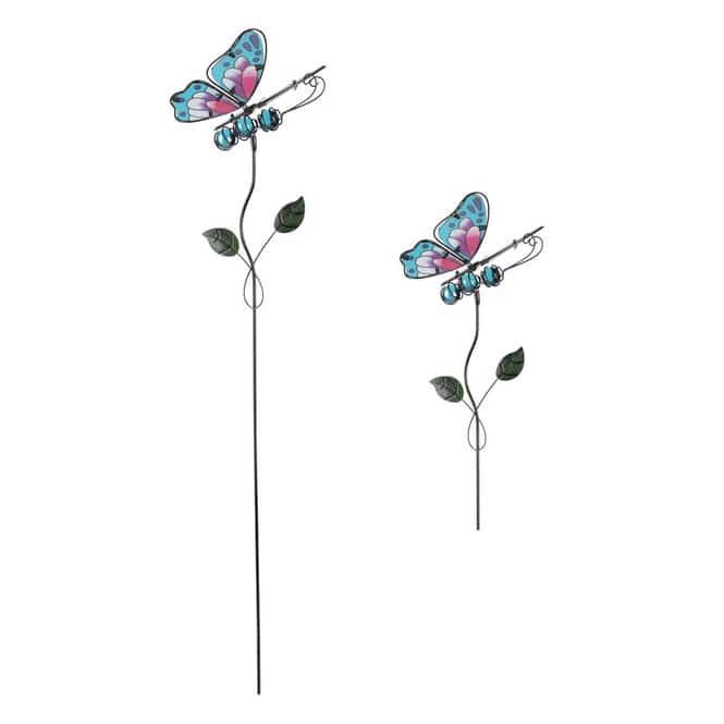 Pflanzenstecker - Schmetterling - ca. 14 x 8 x 71 cm - blau