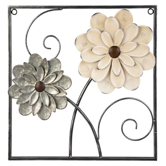 Wanddeko - Blumen - ca. 40,5 x 2,5 x 40,5 cm