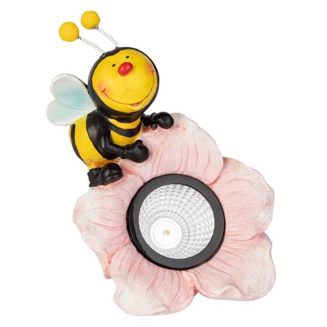 LED-Solarlampe - Biene - aus Keramik - ca. 15,5 x 15 x 18 cm