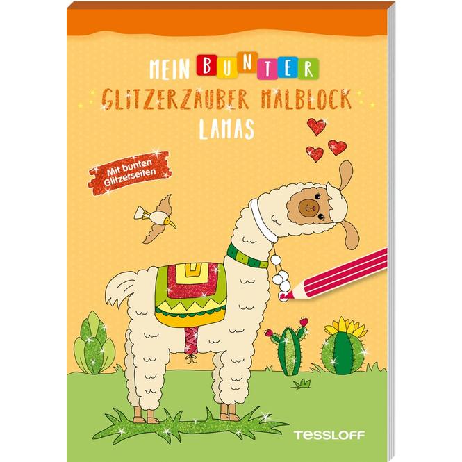 Mein bunter Glitzerzauber Malblock - Lamas