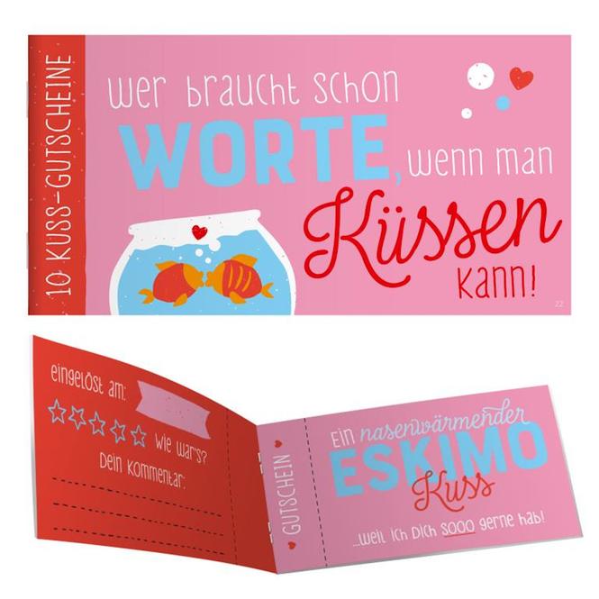 Gutscheinheft - Wer braucht schon Worte, wenn man Küssen kann!
